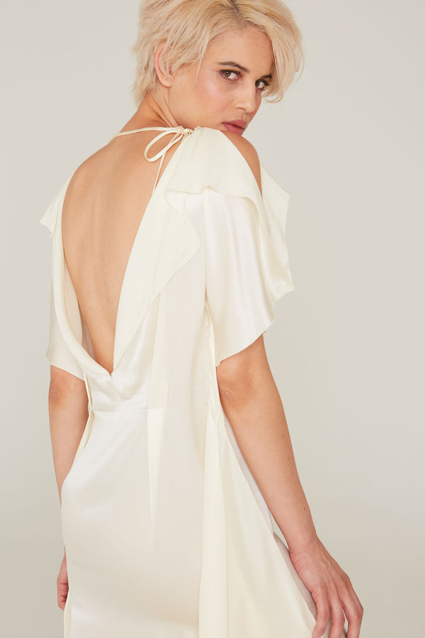 Diana Silk Charmeuse Gown in Off-White
