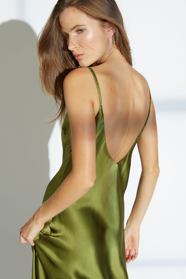 Nina Silk Charmeuse V-Neck Slip Dress in Celadon