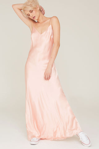 Nina Silk Charmeuse V-Neck Slip Dress in Cameo Pink