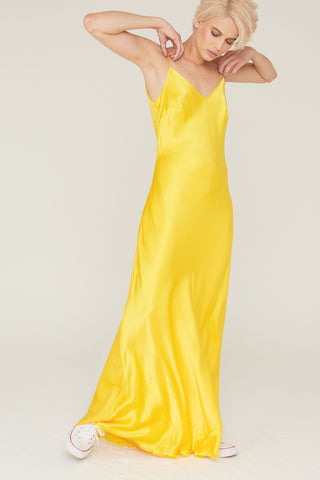 Nina Silk Charmeuse V-Neck Slip Dress in Sunflower
