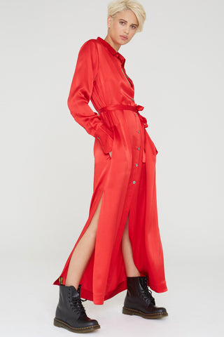 Marilyn Silk charmeuse dress in cardinal red