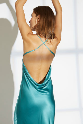 Noelle Silk charmeuse cowl drape back dress in aqua