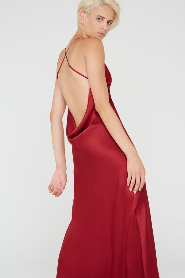 Noelle Silk charmeuse cowl drape back dress in burgundy