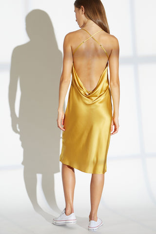 Cher Silk charmeuse cowl drape back short dress in saffron