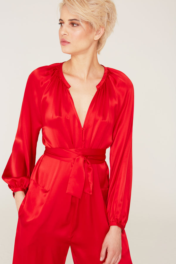 Jules Silk Charmeuse Long Sleeve Jumpsuit in Cardinal Red