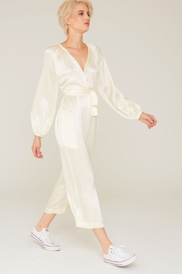 Jules Silk Charmeuse Long Sleeve Jumpsuit in Off-White