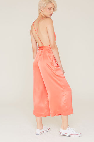Tatum Silk Charmeuse Sleeveless Jumpsuit in Coral