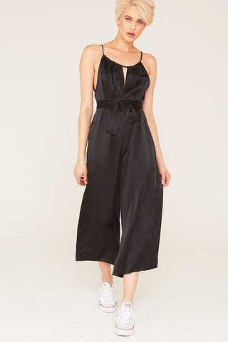 Bryce Silk Jumpsuit in Black