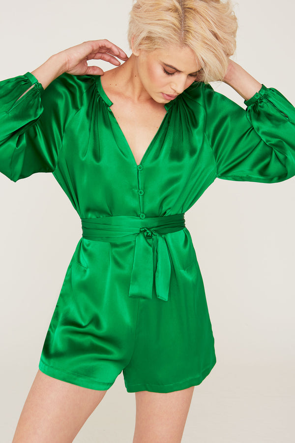 Janice Silk Charmeuse Long Sleeve Romper in Kelly Green