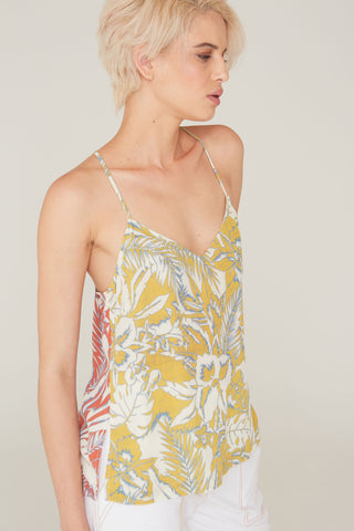 Cora Silk Charmeuse Camisole in Surf and Turf Print