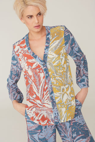 Babe Silk Charmeuse Shirt In Surf and Turf Print
