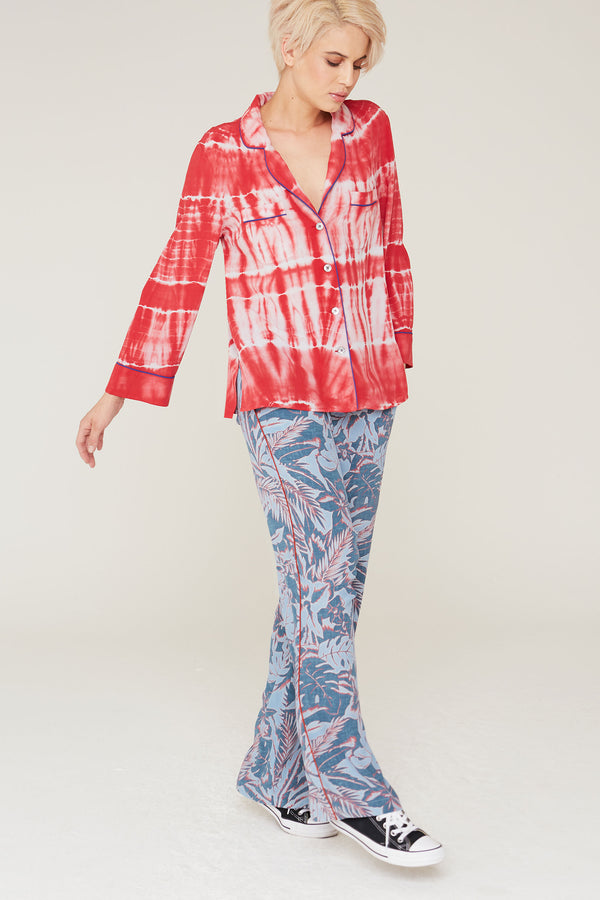 Abel Silk Charmeuse Pants in Surf and Turf Print