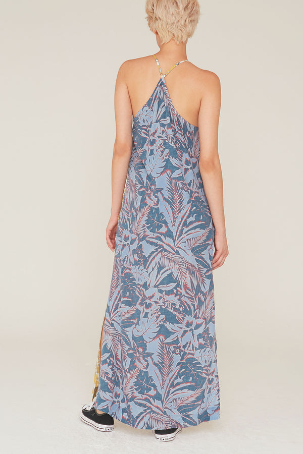 Nikki Silk Charmeuse Dress in Surf and Turf Print