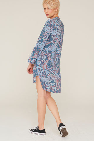 Bridget Silk Charmeuse Dress in Surf and Turf Print