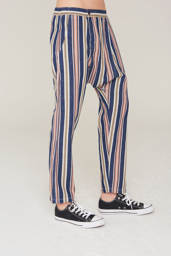 Musa Cotton  Twill Pant in Indigo Stripe