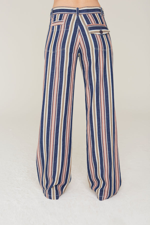 Stefano Wide Leg Cotton Pant in Indigo Stripe