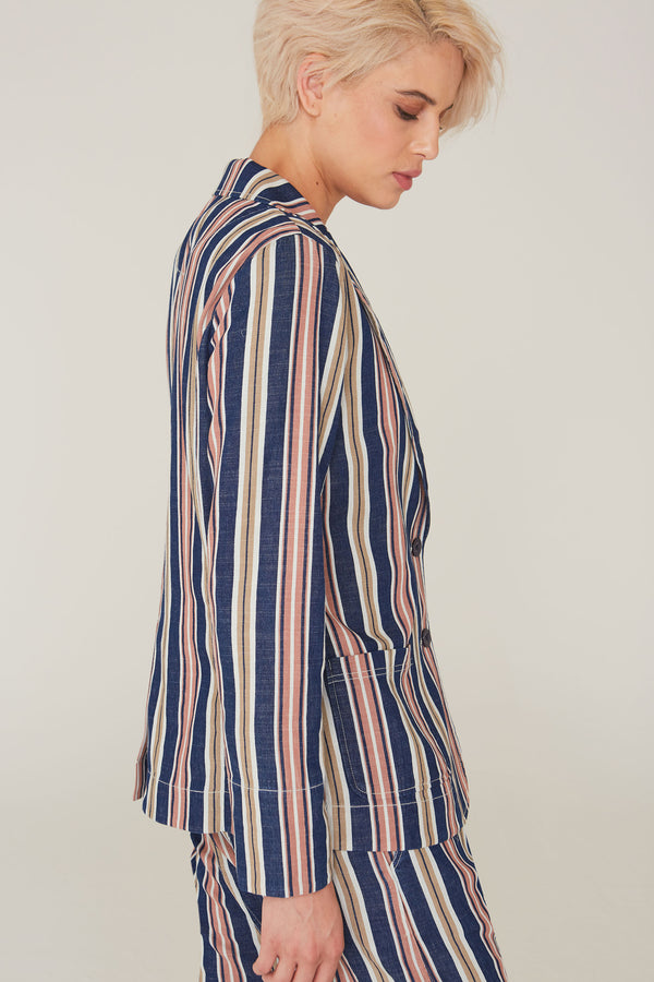 Lennon Cotton Jacket in Indigo Stripe