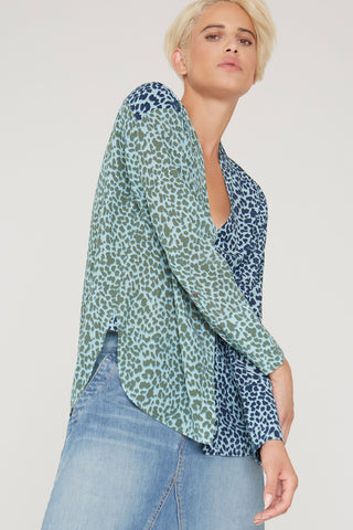 Alva silk shirt in multi Cat Meow print