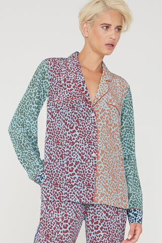 Figaro silk shirt in multi Cat Meow print