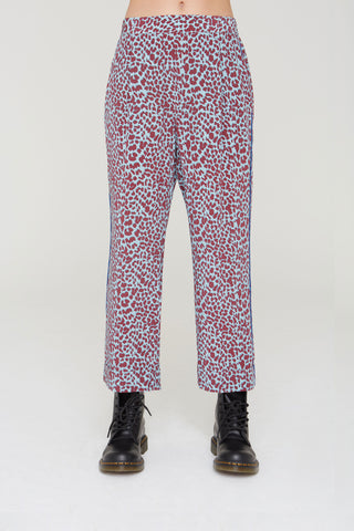 Kaden Silk Pants in cabernet Cat Meow print