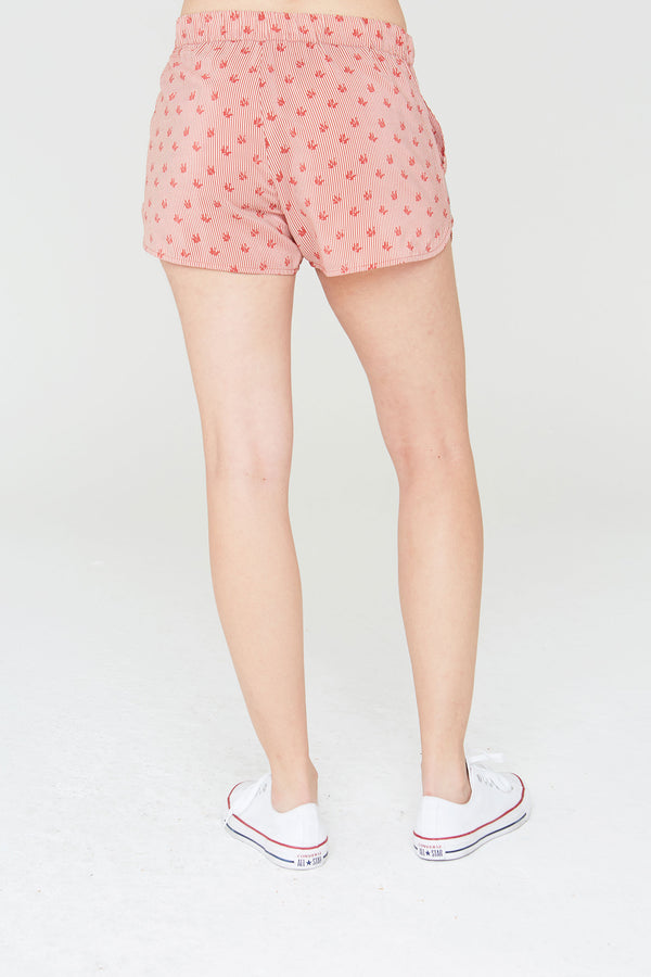 Matteo Silk Curved-Hem Shorts in Tapestry Hill Print