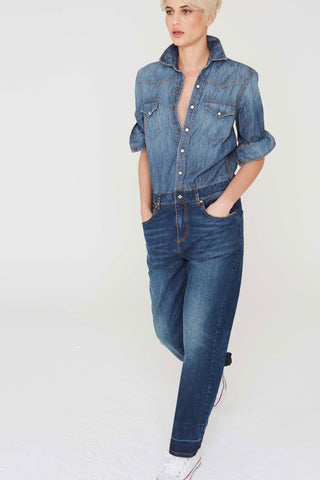 Reed Jumpsuit in Two Tone Denim