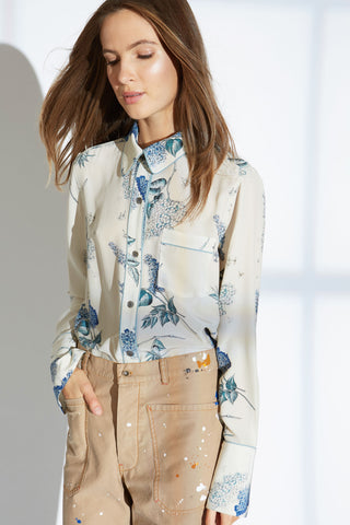GARRET SILK SHIRT IN WISTERIA BLOSSOM PRINT