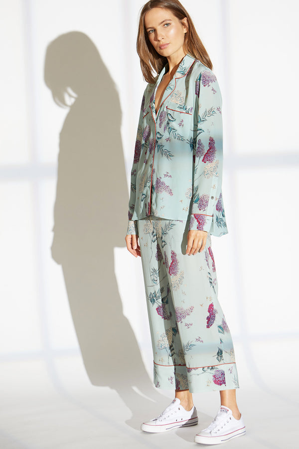 KEITH SILK PANTS IN WISTERIA BLOSSOM PRINT