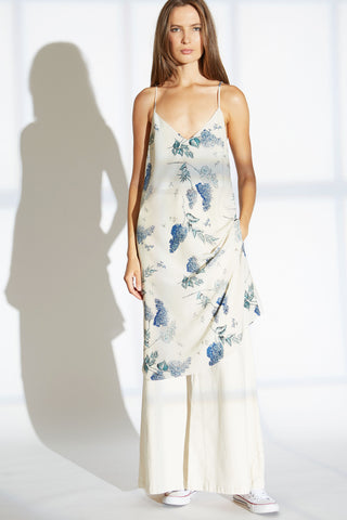 NORA SILK SLIP DRESS IN WISTERIA BLOSSOM PRINT