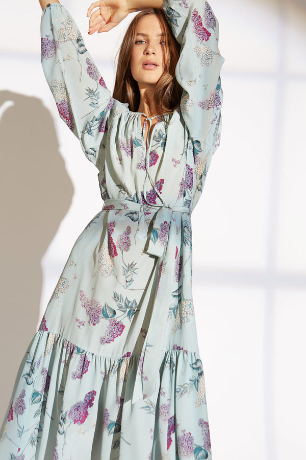 LUCINDA SILK DRESS IN WISTERIA BLOSSOM PRINT