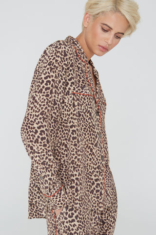 Figaro silk shirt in natural Wild Thing print