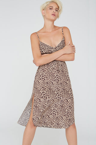 Nora silk short slip dress in natural Wild Thing print