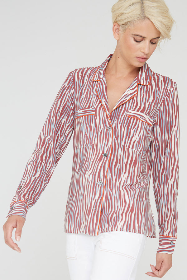 Farah silk shirt in cabernet Zebra Love print