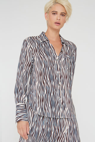 Georgie silk shirt in black Zebra Love print