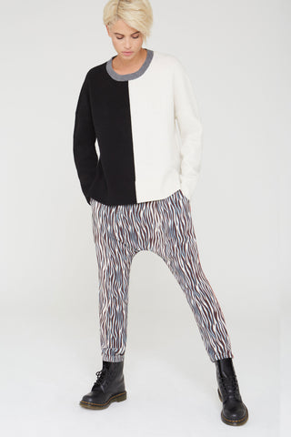 Musa Silk Harem Pants in black Zebra Love print