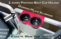 Pontoon Boat 2 Jumbo Cup Drink Holder Aluminum Diamond Plate Fits 1 inch Rail