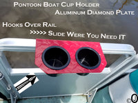Pontoon Boat 2 Cup Holder Aluminum Diamond Plate Fit 1 Inch Fence Rail