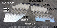 Can Am Commander Rugged Tread Brite Aluminum Diamond Plate Floor Covers