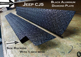 Jeep CJ5 Polished Aluminum Diamond Plate Rockers with bend. 5 1/4'' WIDE set