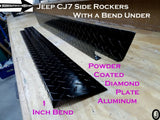 "Jeep CJ7 Aluminum Diamond plate Rocker Panels 6"" wide with 1 inch Bend"