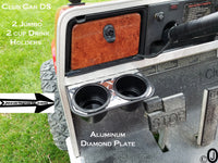 Club Car/Ezgo 2 Jumbo Cup Drink Holder Made With Polished Aluminum Diamond Plate