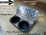 Honda Pioneer 1000 Jumbo Dash Cup Holder Aluminum Diamond Plate With Rubber Edge