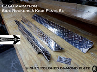 EZGO Marathon Aluminum Diamond Plate Side Rocker Panels & Kick Plate 3 pc set