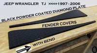 "Jeep Wrangler YJ Aluminum Diamond Plate Full 40"" long Fender Covers With Bend"