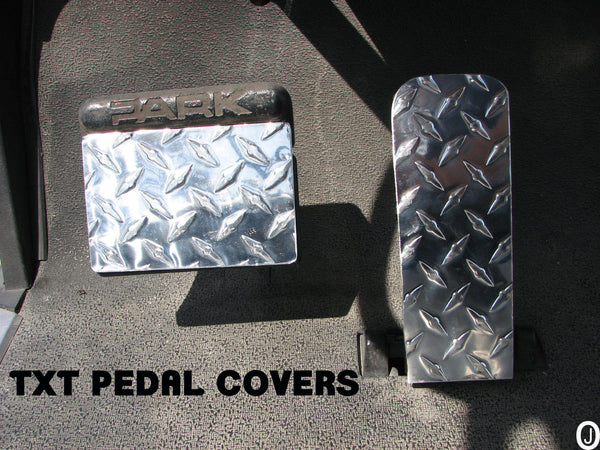 Ezgo TXT Golf Cart Highly polished Aluminum Diamond Plate 2 pc gas & brake pedal