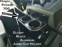 Honda Pioneer 700 Glossy Black Aluminum Dash Jumbo Cup Holder With Rubber Edge