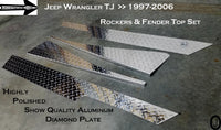 Jeep Wrangler TJ Aluminum Diamond Plate Rockers With cut out & Fender Bend set