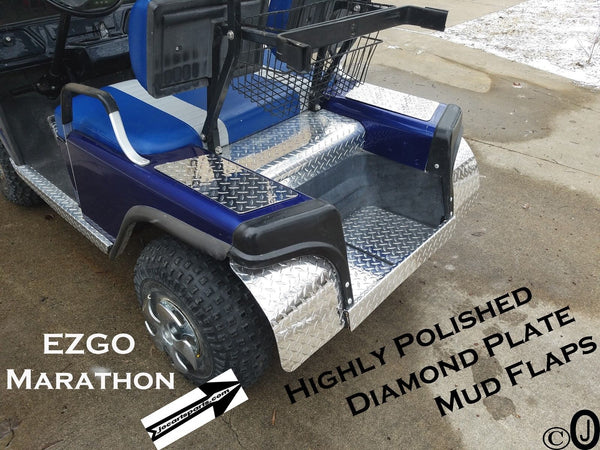 Ezgo Marathon Golf Cart Highly Polished Aluminum Diamond Plate Mud Flaps /Guards