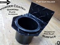 Flat Cup Holder Aluminum Diamond Plate fits Jeeps-Golf Carts-Boats-Rhino-Atv-Utv