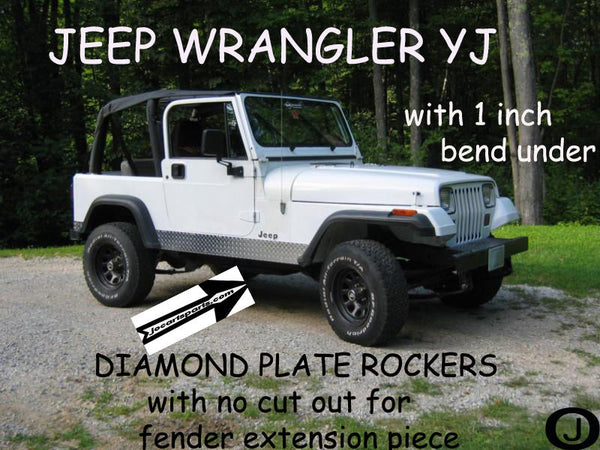 "JEEP YJ Wrangler Diamond plate Rocker Panels no cut outs & / 90° 1"" BEND 6 Wide"